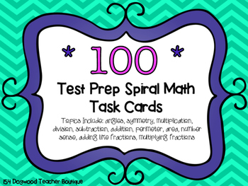 Math Spiral Review Test Prep Task Cards