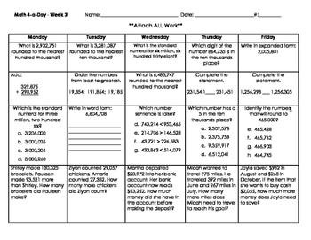 Math Spiral Review Weeks 1-4 - Grade 4