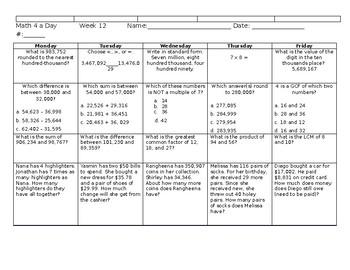 Math Spiral Review Weeks 10-18 Grade 4