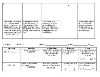 Math Spiral Review Weeks 19-27 Grade 4