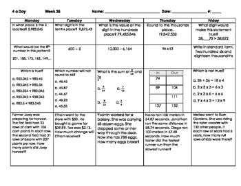 Math Spiral Review Weeks 28-36 - Grade 4