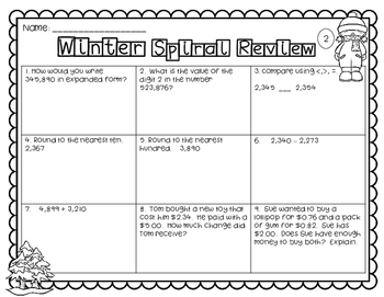 Math Spiral Review | Winter Edition