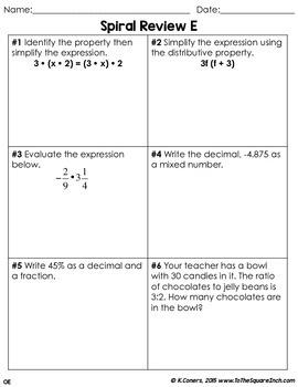 Math Spiral Review Worksheets 7th Grade Math -OCTOBER | TpT
