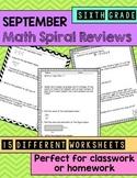 Math Spiral Review Worksheets August/September 6th Grade Math