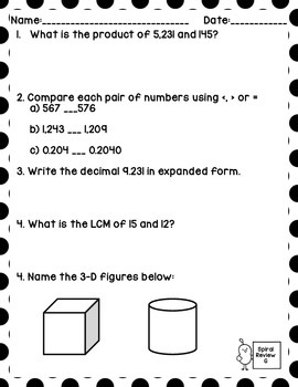 Math Spiral Review Worksheets August/September 6th Grade Math