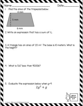 Math Spiral Review Worksheets DECEMBER 6th Grade Math