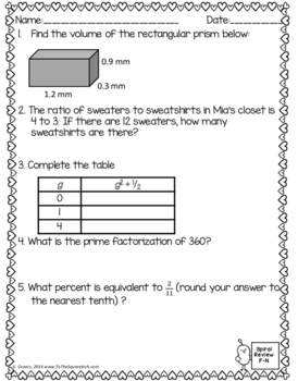 Math Spiral Review Worksheets FEBRUARY 6th Grade Math