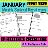 Math Spiral Review Worksheets JANUARY 6th Grade Math