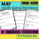 Math Spiral Review Worksheets MAY 6th Grade Math