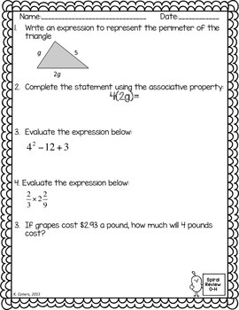 Math Spiral Review Worksheets NOVEMBER 6th Grade Math
