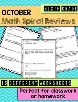 Math Spiral Review Worksheets October 6th Grade Math