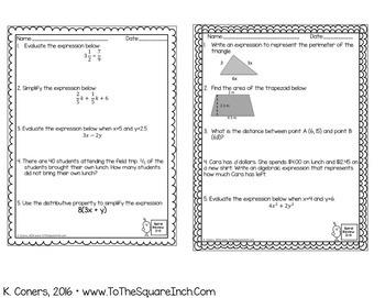 Math Spiral Review Worksheets for 6th Grade Math BUNDLE