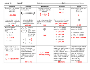 Math Spiral Review for Whole Year - Grade 4