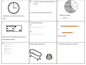 Math Spiraling Review for First Grade EOY