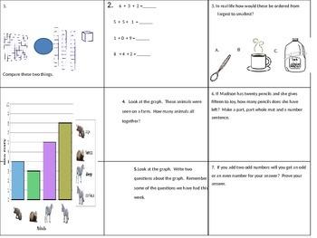 Math Spiraling Review for First Grade EOY