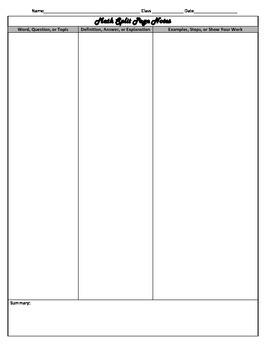 Math Split Page Notes FREEBIE