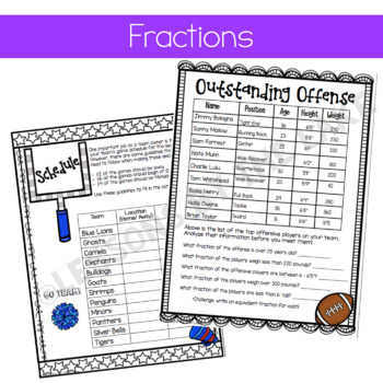 Math Sports Project Bundle {fractions & mean, median, mode}