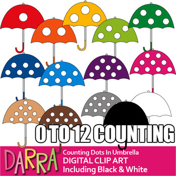 Math Spring Clip Art - Counting Dots In Umbrella (teaching numbers and colors)