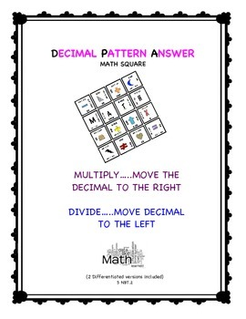 "Powers of Ten Patterns ""Magic Square""   5.NBT.2"