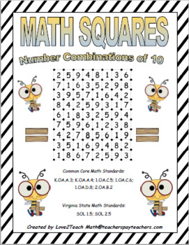 Math Squares- Combinations to 10 Game
