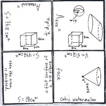 Math Squares - Volume, Surface Area, Area