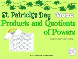 Math Puzzle Maze: Products and Quotients of Power St.Pat's Day EDITION