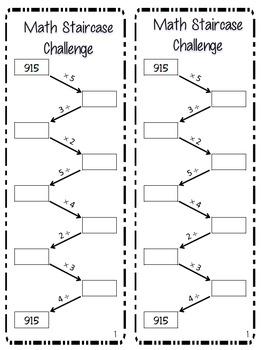 Math Staircase Challenge:Multiplication & Division: TEKS 4.4D,E; CCSS 4.NBT.B5,6
