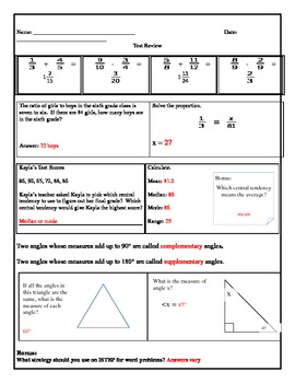 Math Standardized Test Practice Worksheet