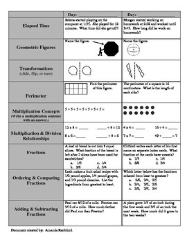 Math Standardized Test Prep Spiral Review 1st 10 Weeks