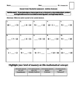 Math Standards Assessments Set #1 Second Grade