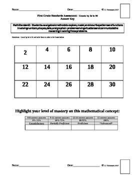 Math Standards Assessments Set #2 First Grade