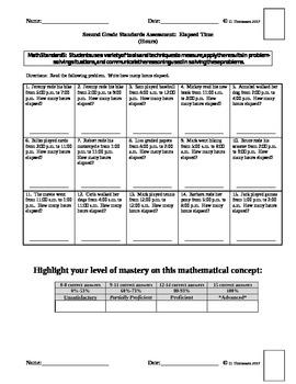 Math Standards Assessments Set #5 Second Grade