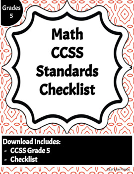 Math Common Core Standards Checklist