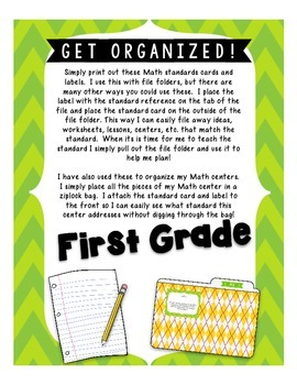 Math Standards Labels- First Grade