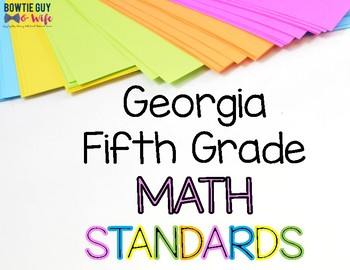 Math Standards for Fifth Grade Georgia Standards of Excellence