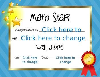 Math Star Certificate
