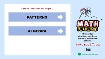 Math Starters Unit 4 - Patterns and Algebra