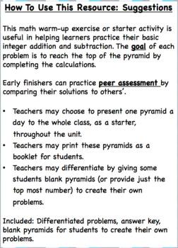 Math Starters - Number Pyramids: Integers