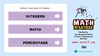 Math Starters Unit 3 - Integers, Ratio, and Percent
