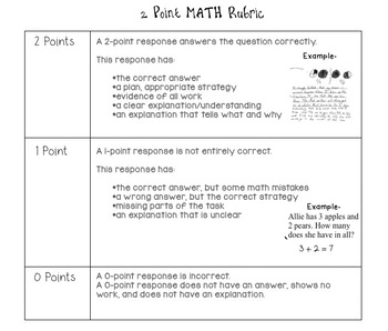 Math State Test 2 Point Holistic Rubric - Kid Friendly