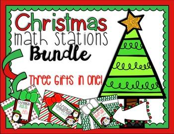 Math Station Bundle (3 Stations!) - Christmas Themed!