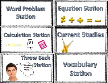 Math Station Cards Integers & Rational Numbers