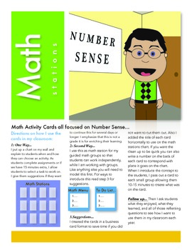 Math Station Cards all about Number Sense