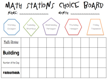 Math Station Choice Board *Editable*