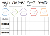 Math Station Choice Board *Editable*