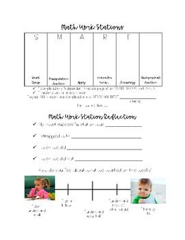 Math Station Choice Board w/ Reflection
