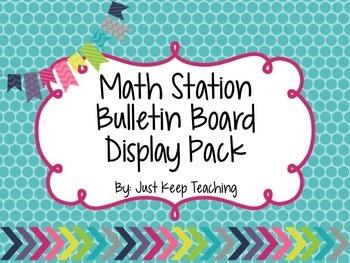 Math Station Display- Bright Chevron, Bulletin Board Display, Classroom Decor