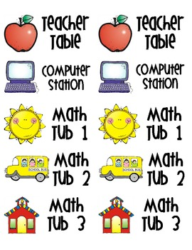 Math Station Labels (to use with checklists)