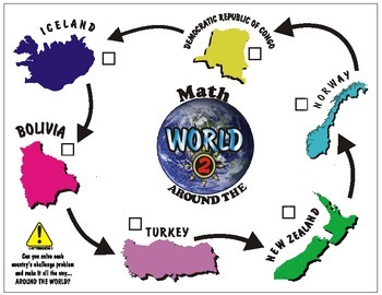 Math Station- Math Around the World 2 with Fraction Problems Pack