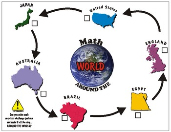 "Math Station- ""Math Around the World"" with Decimal Problems Pack"